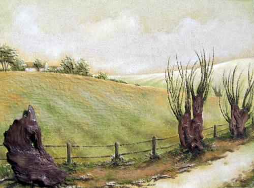 'Weiden am Weg' von Sandmalerin