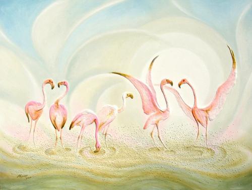 'Flamingos' von Sandmalerin