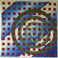 Rote Quadrate auf kreisen mit Streifen