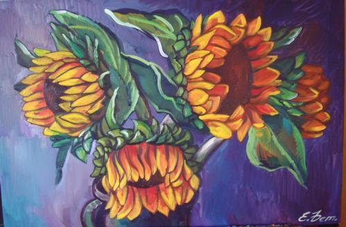 Sonnenblumen mit blauem Hintergrund in 3D