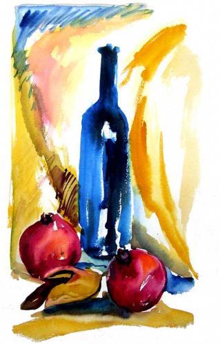Blaue Flasche mit Granatäpfeln