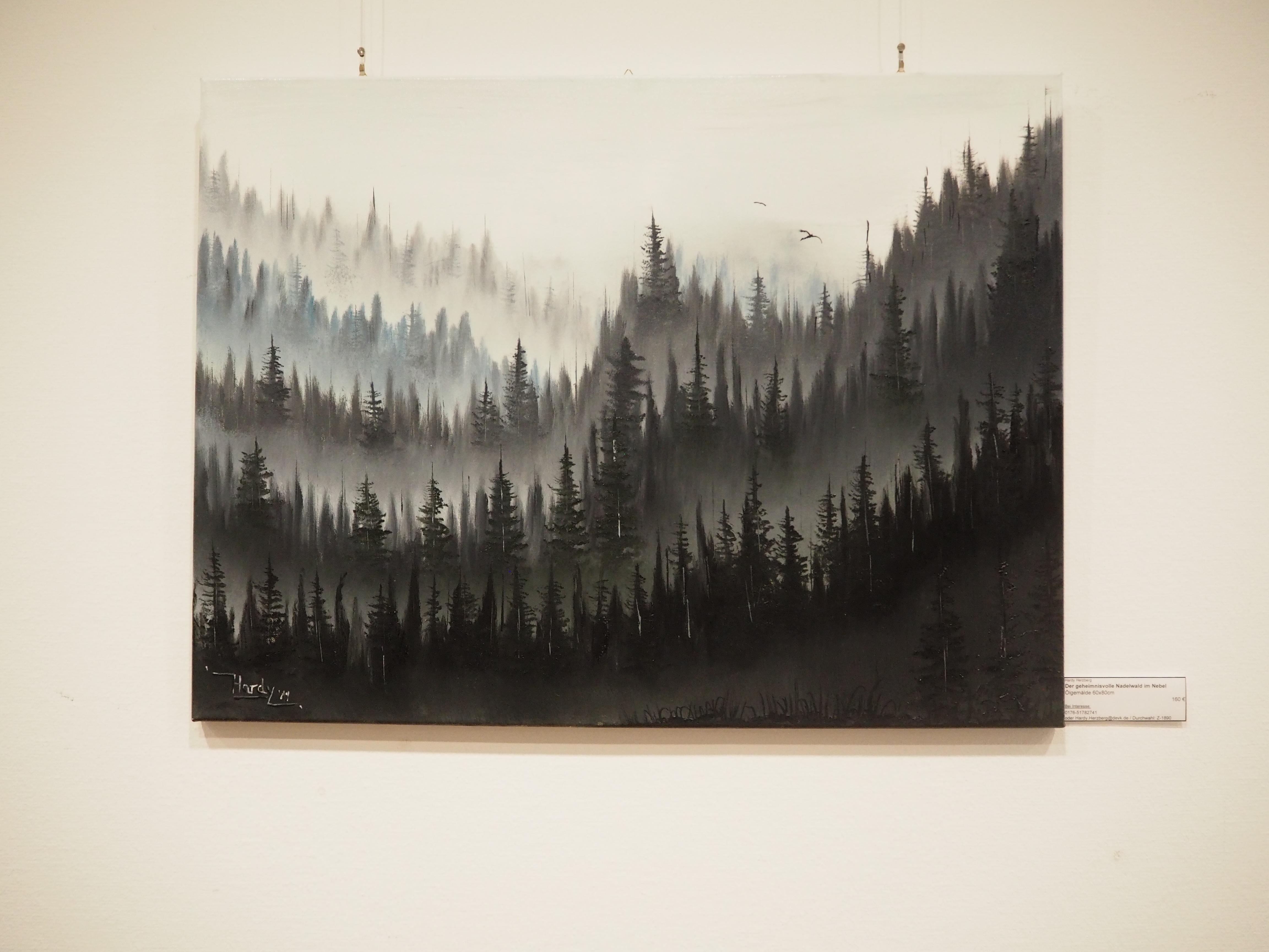 Geheimnisvoller Nadelwald im Nebel