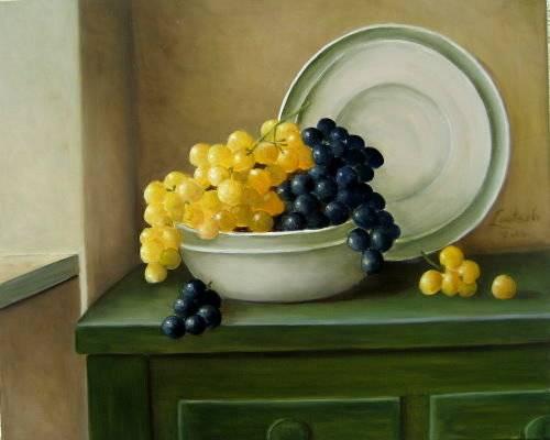 'Nr.185 Trauben blau- gelb' von Ev Lautsch