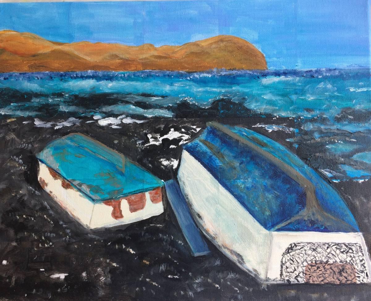 'BOOTE am LAVASTRAND Fuerteventura - ACRYL B 50 x H 40 cm' von  Heidemarie Tuschhoff