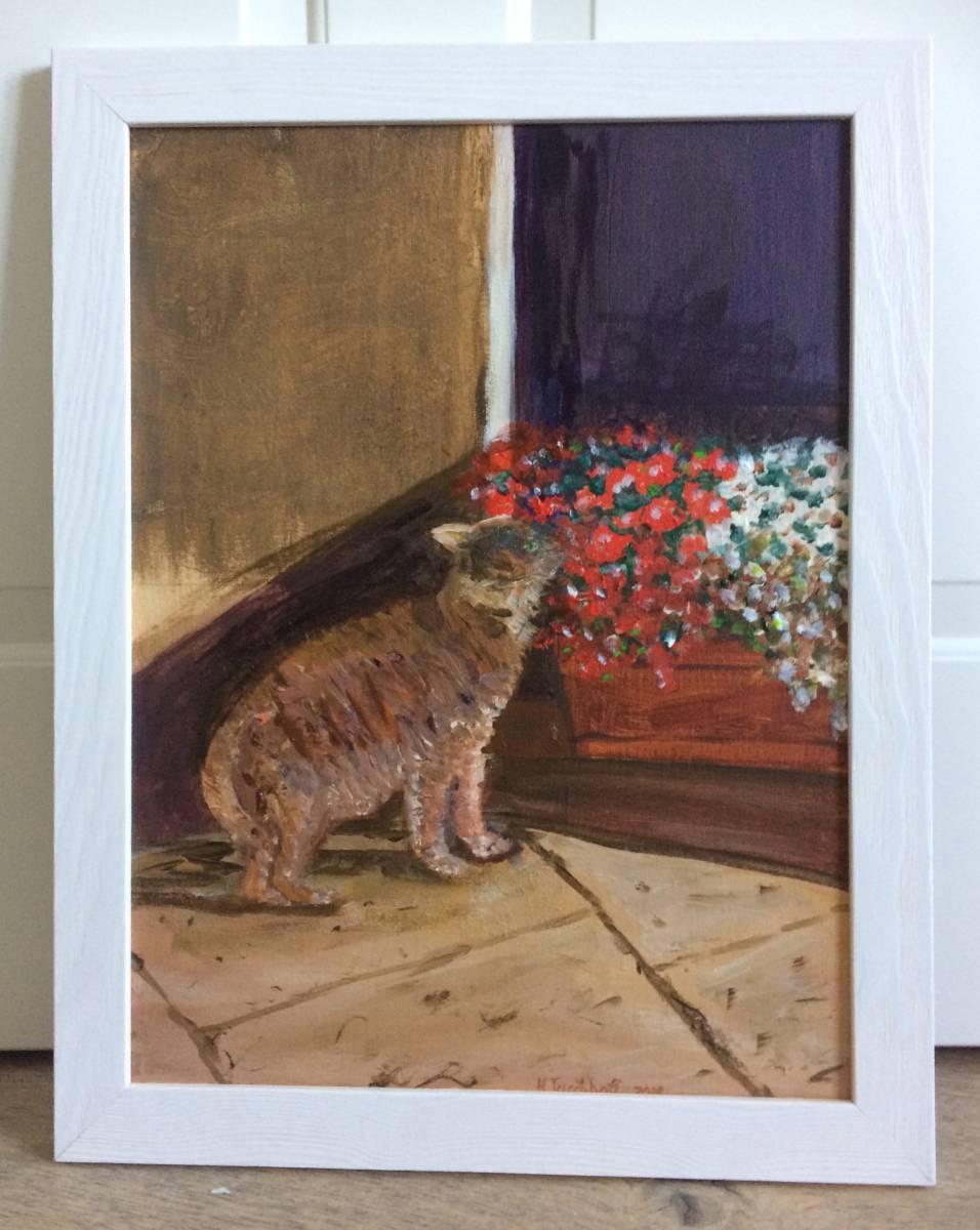 'KATZE im Chiantital ACRYL B 35 x H 45 cm gerahmt' von Heidemarie Tuschhoff