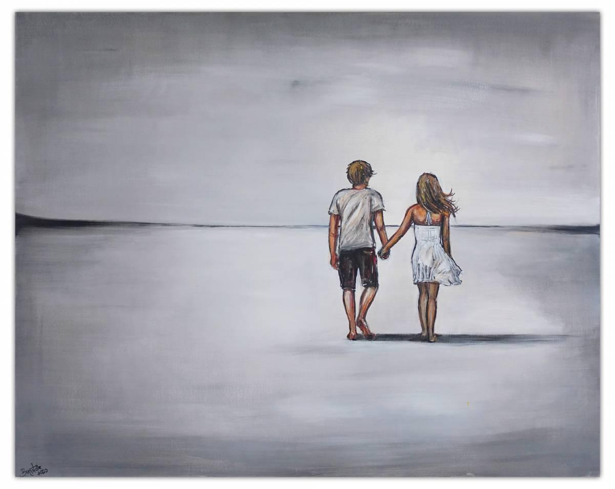 'Weiter Weg Liebespaar Mann Frau Malerei Gemälde Acrylbild Unikat 100x80' von  Burgstallers Art Gemaelde