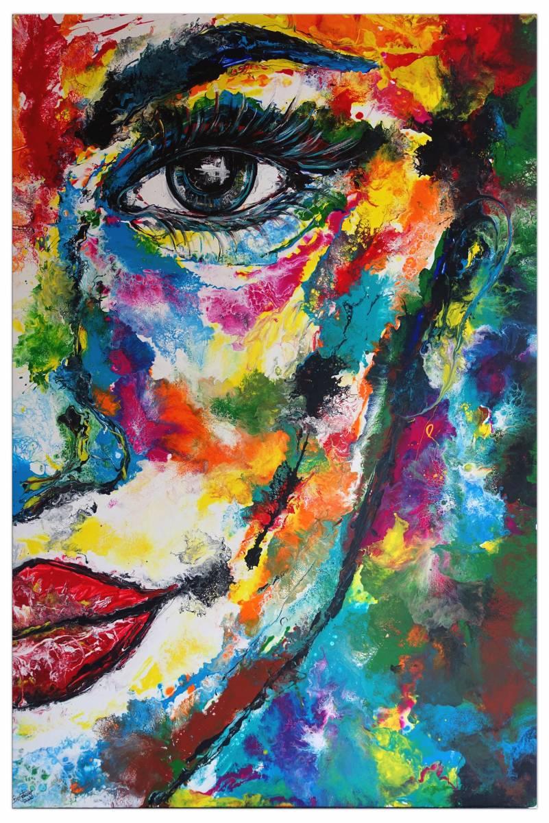 'XXL Wandbild Frau abstraktes Gesicht Porträt Malerei Acrylgemälde' von  Burgstallers Art Gemaelde