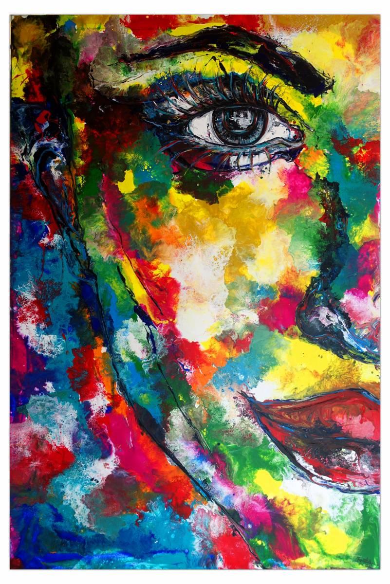 'Wandbild Frauen Gesicht abstrakt gemalt - Fluid Art Pouring Porträt Malerei' von  Burgstallers Art Gemaelde