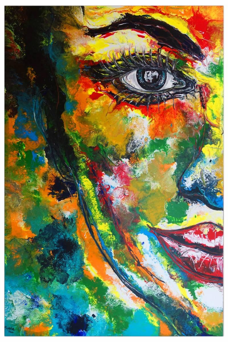 'Abstraktes Gesicht bunt Porträt Malerei Wandbild Unikate Kunstbild' von Burgstallers Art Gemaelde
