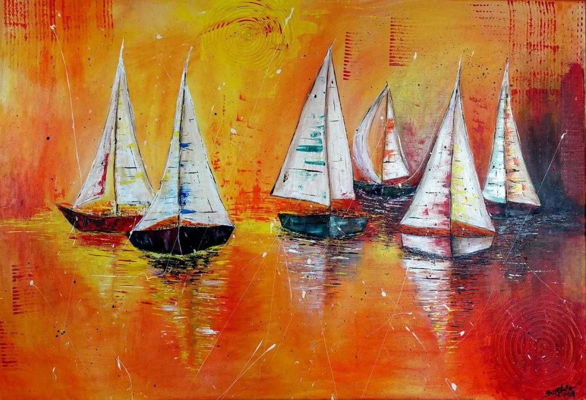 'Segelboote Regatta - Maritimes Original Gemälde - Malerei' von  Burgstallers Art Gemaelde