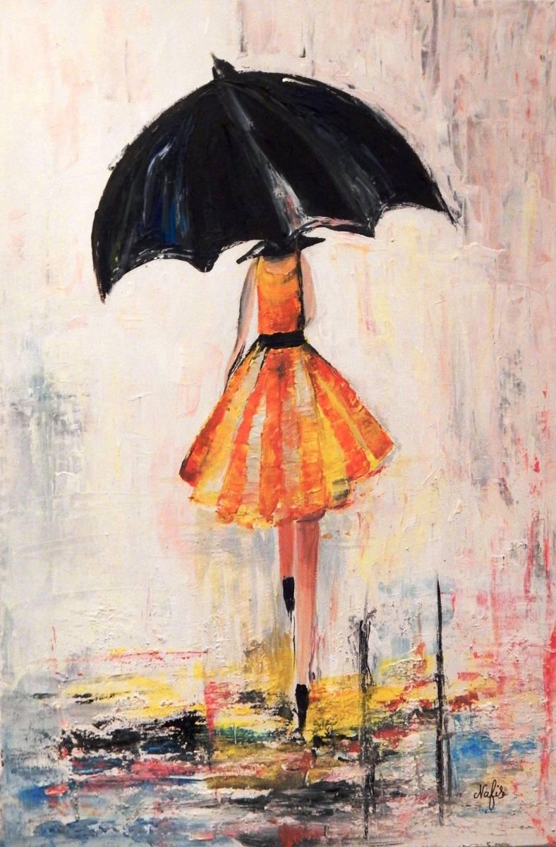 Gelbes Kleid mit Regenschirm