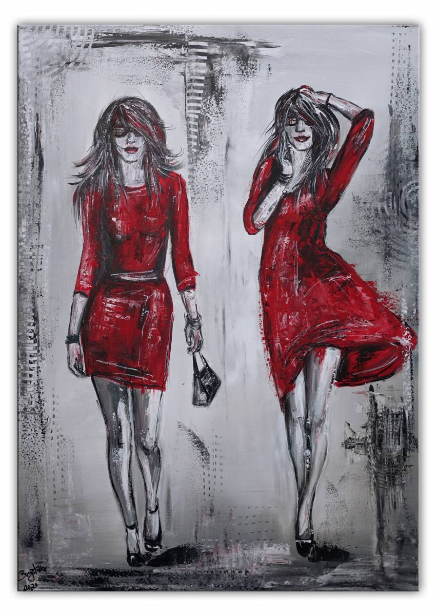'2 Ladys Frauen - rote Kleider  - Malerei -  Acrylbild  - Gemälde Unikat' von  Burgstallers Art Gemaelde