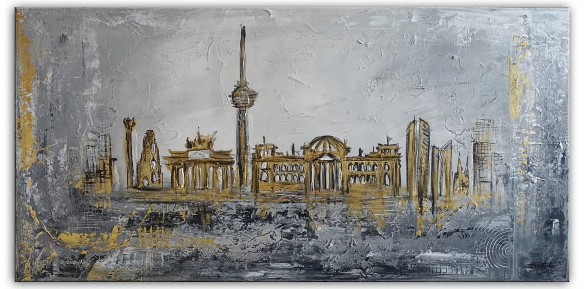 'Berlin Wandbild Skyline -  gold grau Struktur' von Burgstallers Art Gemaelde
