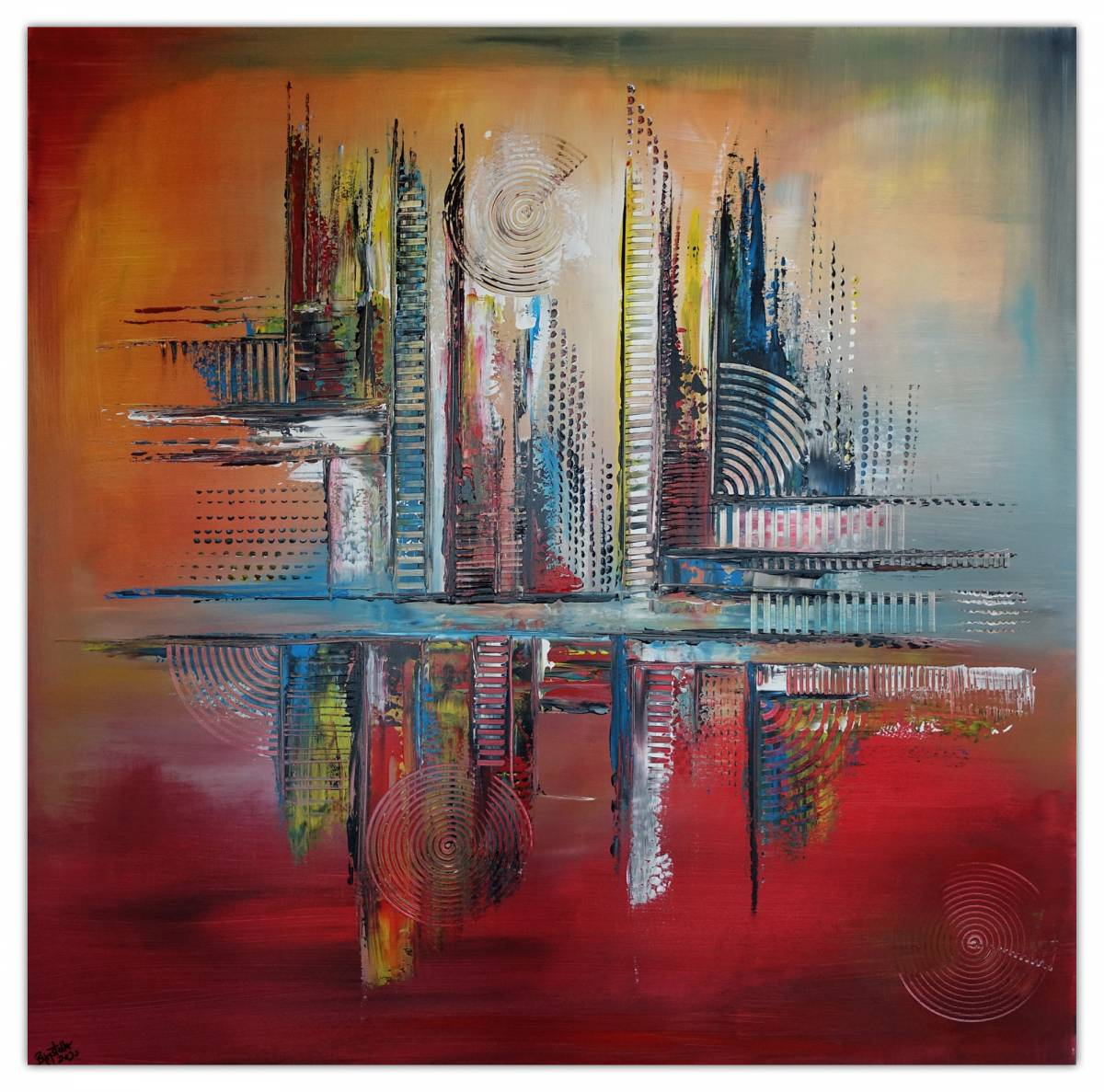 'Emperial abstrakte Malerei Leinwandbild Wandbild Kunstbild Gemälde Acrylbild 100x100' von  Burgstallers Art Gemaelde