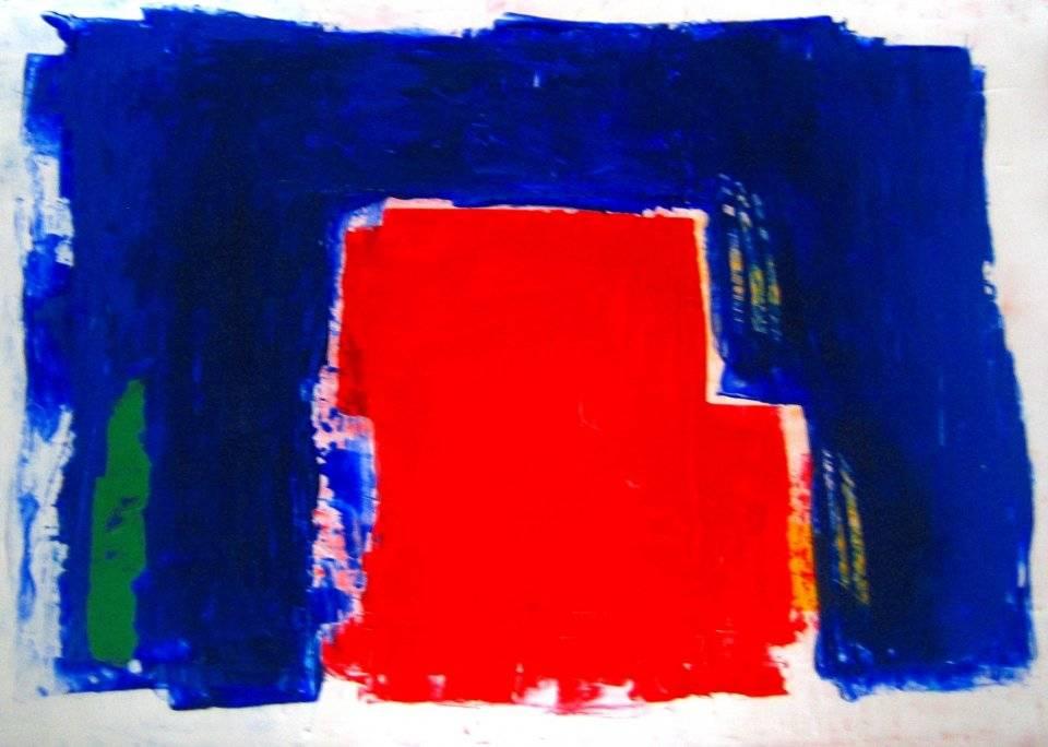'Rot Blau umrandet' von Volker Franzius