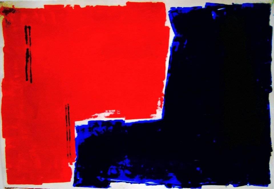 'Rot-Blau verzahnt' von Volker Franzius
