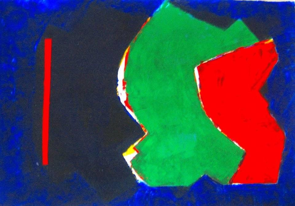 'Rot-Grün auf Blau' von Volker Franzius
