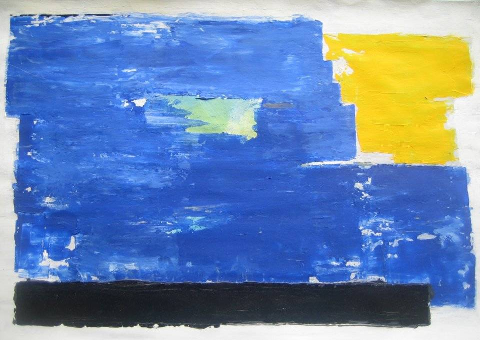 'Blau auf Schwarzem Balken' von Volker Franzius