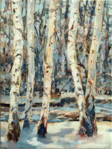 Birken am Fluß-Winter