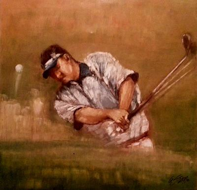 Golfer im Sandgraben