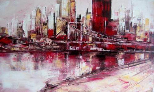 Skyline m. Brücke u. Fluss