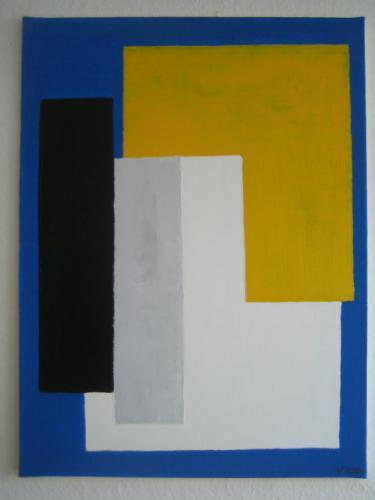'Farbrechtecke auf Blau' von Volker Franzius