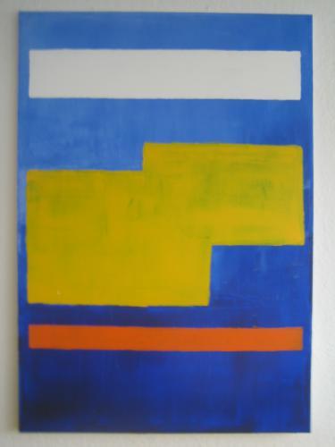 'Weiß-gelb-orange Streifen auf Blau' von Volker Franzius