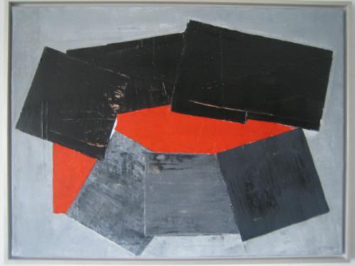 'Schwarz-graue Vierecke mit Rot' von Volker Franzius