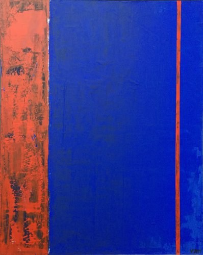 Blaue Fläche, Rot meliert durchbrochen