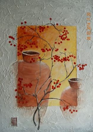 Vasen mit Vogelbeeren