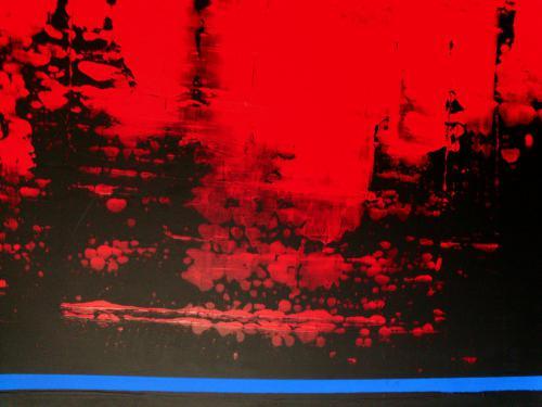 'Red-Black with Blue Stripe' von Volker Franzius
