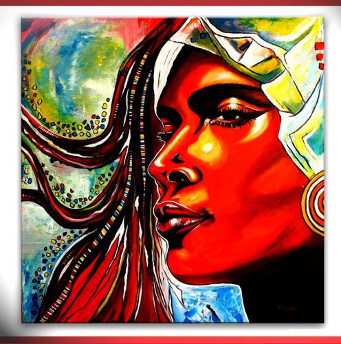 Anmut - leuchtendes Gesicht von Frau in Acryl