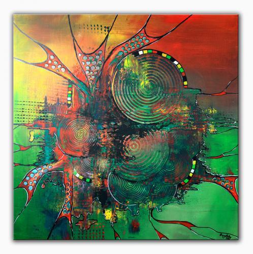 Antrieb - abstrakte Kunst Malerei in rot grün
