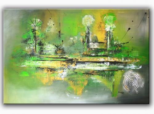 Inspire - abstrakt Acryl Malerei grün gelb grau