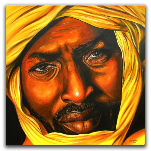 TUAREG - leuchtendes Gesicht von Beduine, Araber, gelb