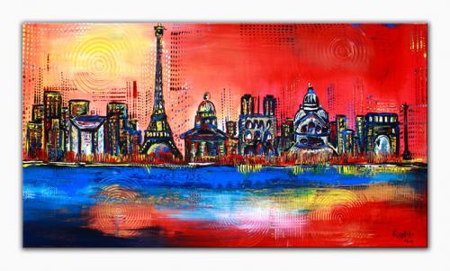 Paris - abstrakt Städte Malerei, Stadt Bilder Gemälde