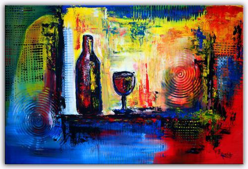 Wein Gläser - Stilleben abstrakt blau rot gelb grau