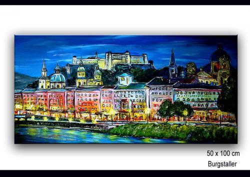 Salzburg Festung - Städte Malerei, Stadt Bilder Gemälde_copy