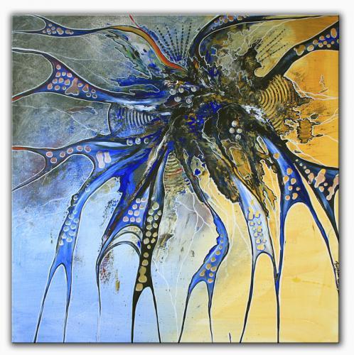 Water - abstrakte Kunst Malerei blau Acrylbild