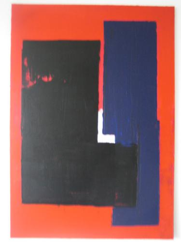 Blaue Säule auf Rot