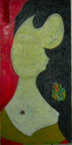 Portrait abstrakt rot gelb