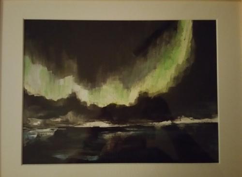 Aquarell Nordlichter Erinnerung ans Nordkap