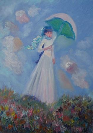 Frau mit weiß-grünem Sonnenschirm