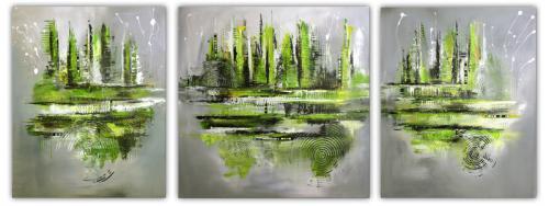 Navigation XXL dreiteiliges Gemälde abstrakt grün grau