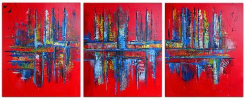 Rot Blau Trilogie abstrakte Bilder dreiteilig Gemälde rot