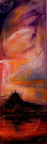 Mountsaintmichel  abstraktes Landschaftsbild in Acryl