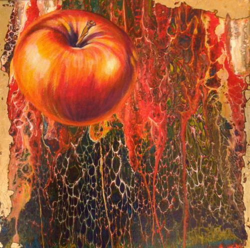 Apfel fliegend