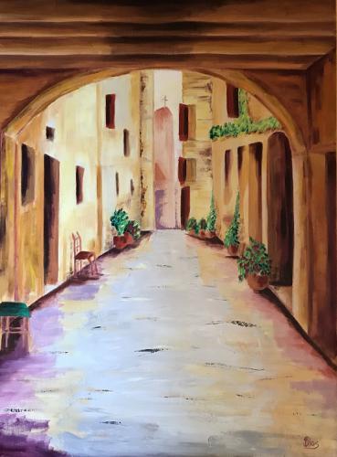 Italien Blick unter Bogen