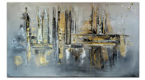Abstrakte Skyline gemalt Silber Gold Modernes Wandbild