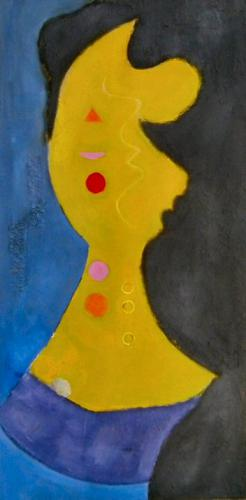 abstract portrait  straw yellow